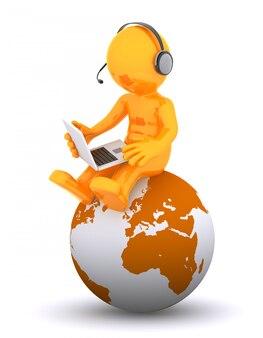 地球に座っている電話オペレーターをサポート