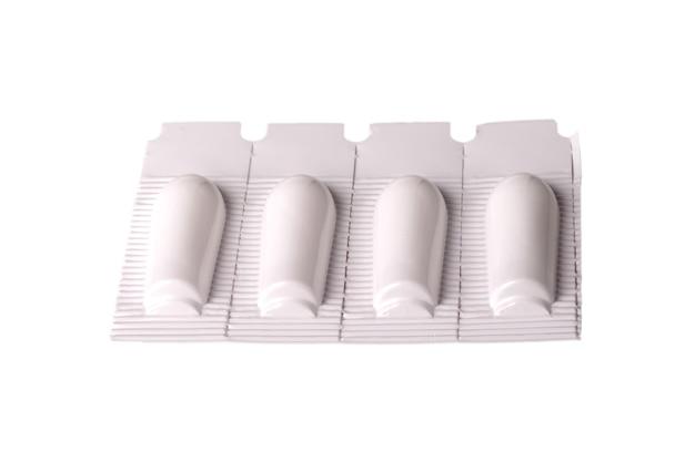 白い表面に坐剤直腸カット
