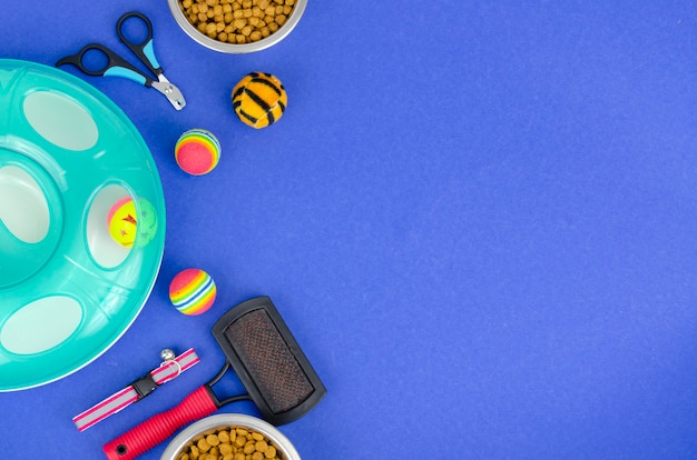Surface of bowls with food, toys and pet care items, top view