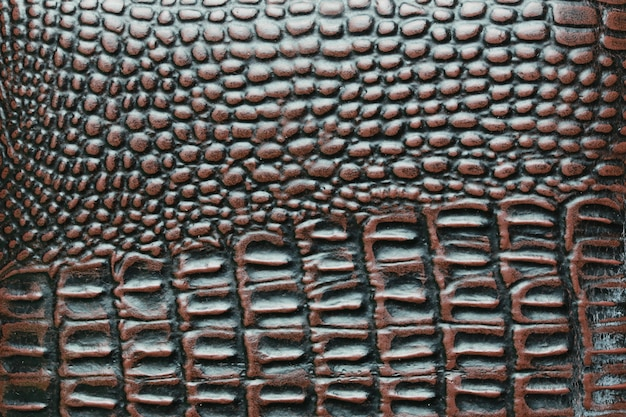 Surface of brown crocodile leather bag.
