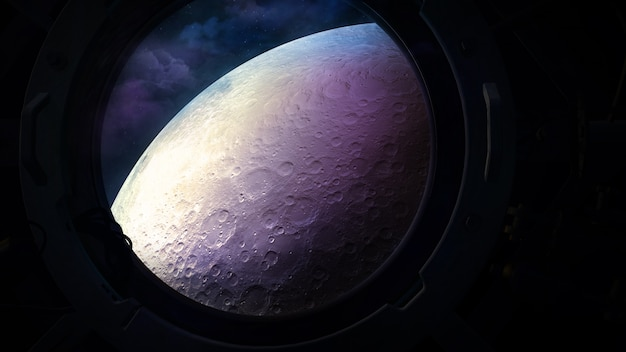The surface of the moon from the porthole of a spacecraft