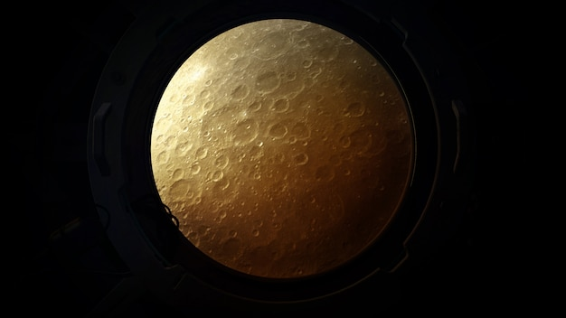 The surface of the moon lit by sun is visible from the porthole of the ship.