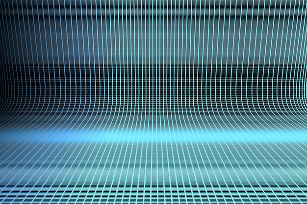 Surface with blue lines glowing with blue light