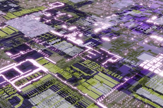 추상적이고 미래 지향적인 기하학적 구성 패턴인 네온 빛나는 요소가 있는 표면