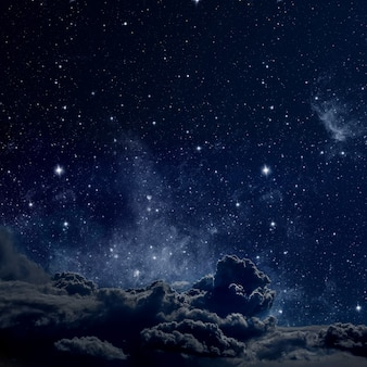 星と月と雲で夜空を表面化します。木材。 nasaから提供されたこの画像の要素