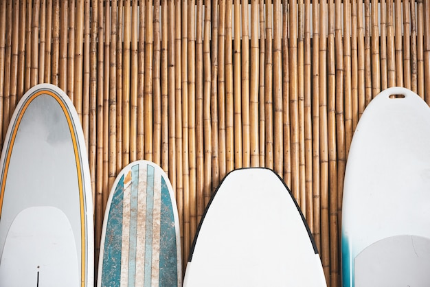 Surfboard on the bamboo background