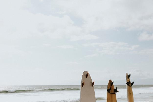 Surfboard mockup on the beach