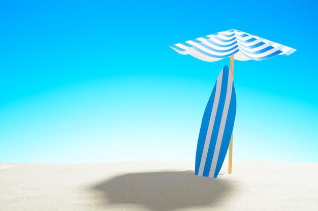 모래 해변에서 우산 아래 서핑 보드