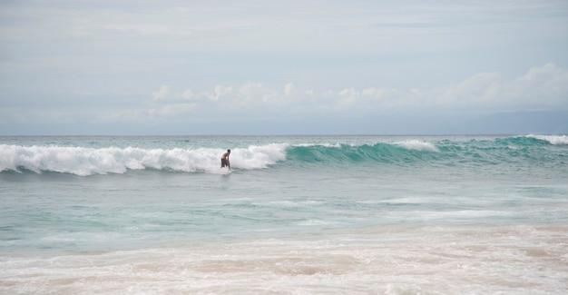 Surfer along coastline in bali