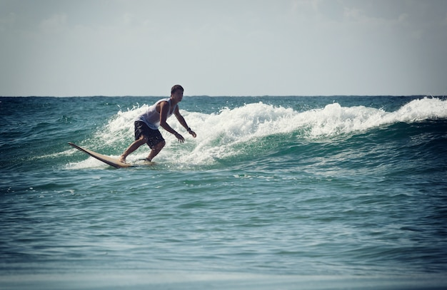 Surfer on longboard rides a wave in the sea
