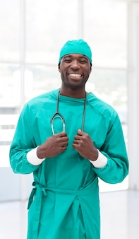 Surgeon holding a stethoscope