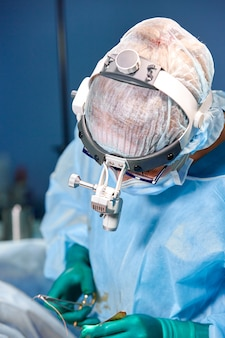 Surgeon performing breast augmentation surgery in hospital operating room. surgeon in mask wearing loupes during medical procadure.