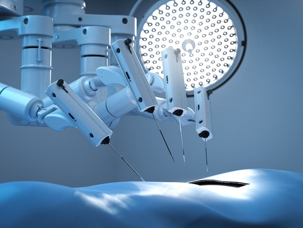 Surgery robot in surgery room with light