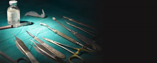 Surgical instruments, silicone nasal  implants in operating room.