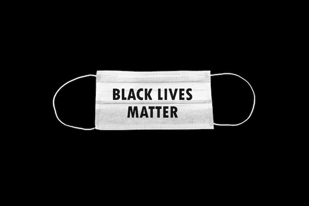 Surgical mask with black lives matter theme on black background
