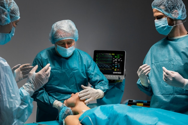 Surgical procedure made by doctor on patient