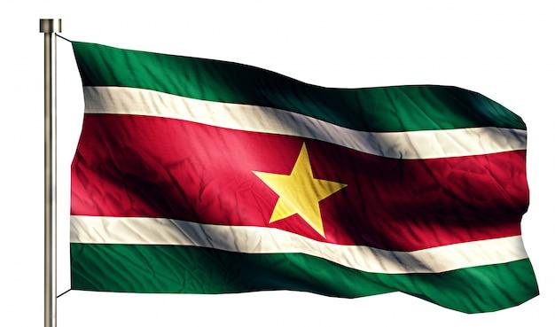 スリナム国旗孤立した3d白い背景