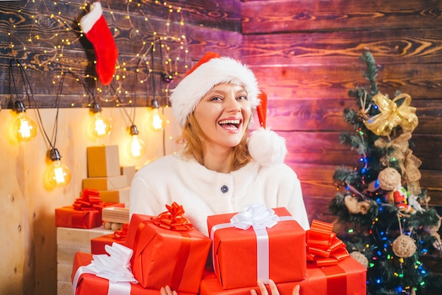Surprise concept happy emotion merry christmas and happy new year funny home holiday christmas woman...