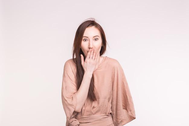 驚き、恥、そして人々のコンセプト。彼女の口を覆うアジアのブルネットの女性