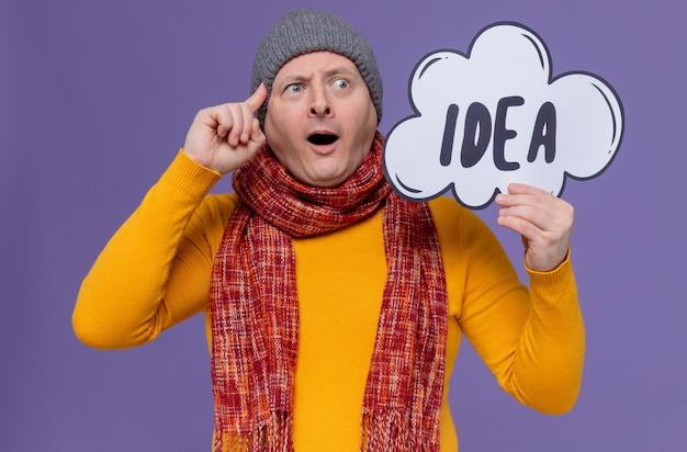 アイデアバブルを保持している彼の首の周りに冬の帽子とスカーフを持つ驚いた大人のスラブ人