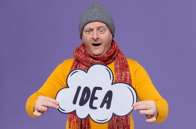 Surprised adult slavic man with winter hat and scarf around his neck holding and looking at idea bubble