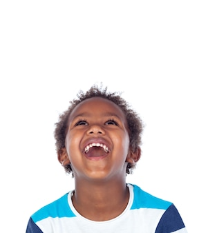 Surprised boy laughing out loud