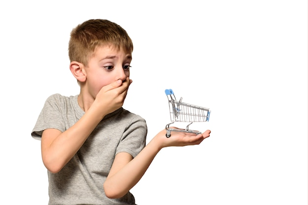Surprised boy put his hand over his mouth holding a small metal shopping cart on a palm