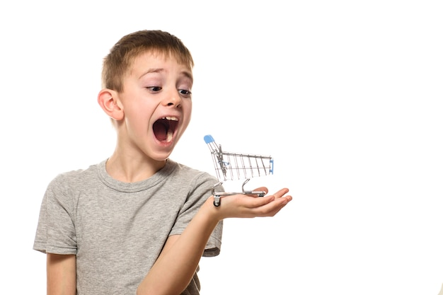 Surprised boy with open mouth holding a small metal shopping cart on a palm