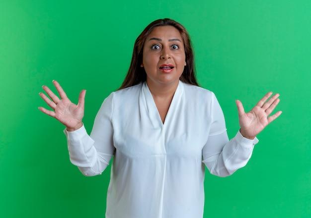 驚いたカジュアルな白人の中年女性が緑の壁に孤立した手を広げます