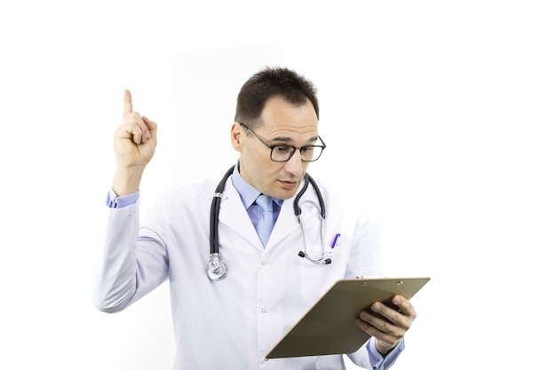 Surprised doctor holds thumb up checking patient's record on clipboard. recovery