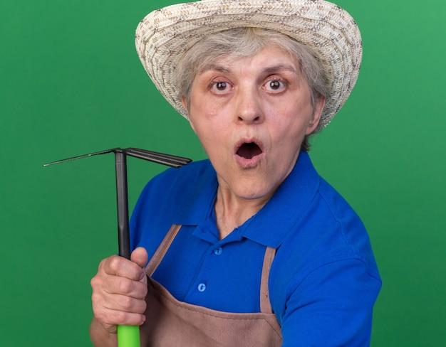 Sorpreso anziano giardiniere femmina che indossa cappello da giardinaggio tenendo la zappa rastrello e guardando la telecamera