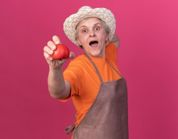 Giardiniere femminile anziano sorpreso che porta il cappello di giardinaggio che tiene il pomodoro
