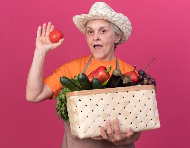 Giardiniere femminile anziano sorpreso che indossa cappello da giardinaggio che tiene cesto di verdure e pomodoro