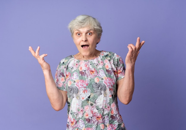 La donna anziana sorpresa sta con le mani alzate che guardano in avanti isolate sulla parete viola