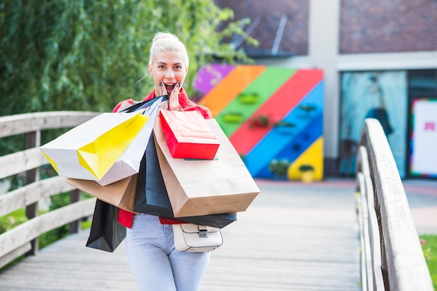 Surprisedfemale with shopping packets