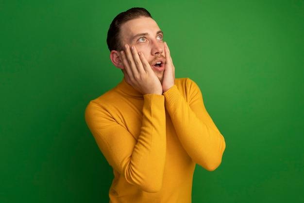 놀란 잘 생긴 금발의 남자는 얼굴에 손을 넣고 녹색 측면을 본다
