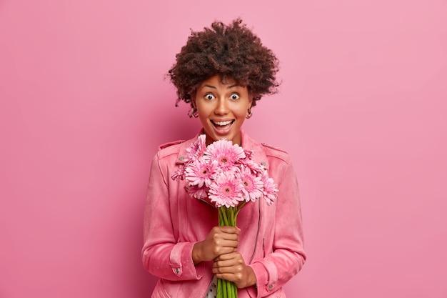 아프로 머리를 가진 놀란 행복 한 젊은 여자는 아름다운 거베라 꽃을 보유