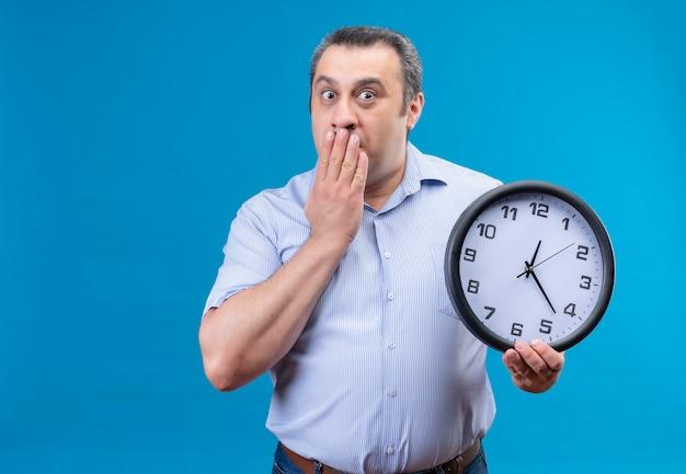 Sorpreso uomo di mezza età che tiene l'orologio da parete mentre si copre la bocca con la mano su uno sfondo blu