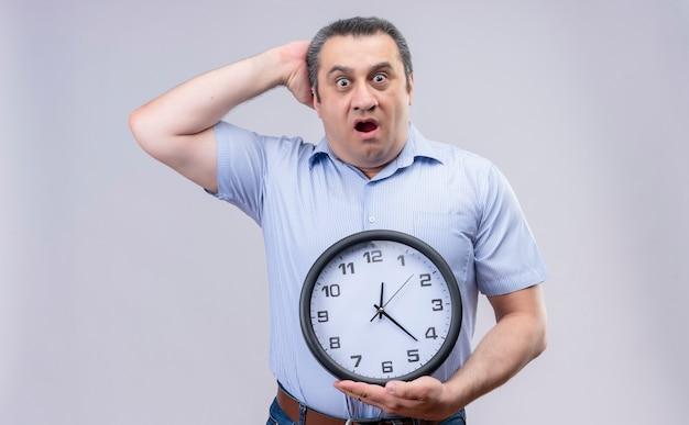 白い背景の上に立っている間頭に手で強調した壁時計を保持している青い縞模様のシャツを着て驚いた中年男