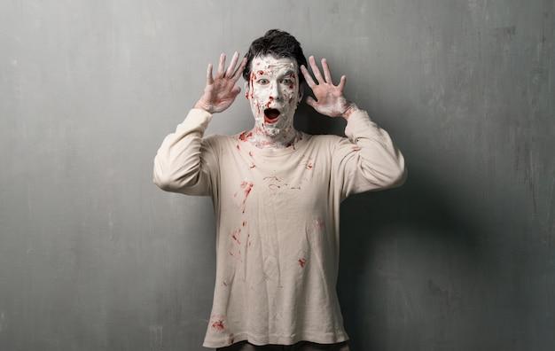 Surprised terrorific zombie.  halloween holidays