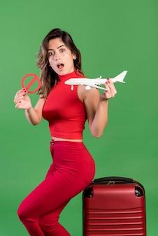 Surprised woman no vacation concept