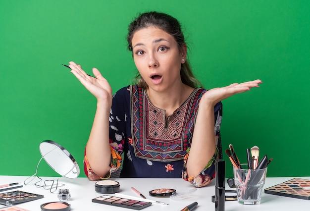 Удивленная молодая брюнетка сидит за столом с инструментами для макияжа, держа руки открытыми, держа подводку для глаз
