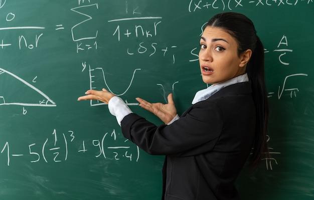 Sorpresa giovane insegnante femminile in piedi davanti ai punti di lavagna con le mani alla lavagna in classe