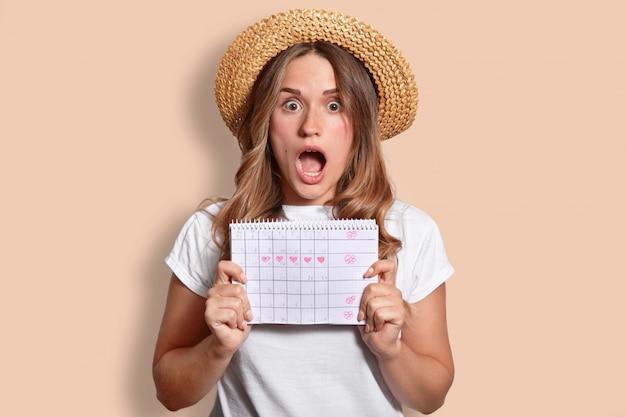 Удивленная молодая симпатичная женщина с чистой кожей, широко раскрывает рот, одетая в соломенную шляпу и футболку, держит календарь периода, выражает шок, изолирована от бежевой стены студии. омг концепция