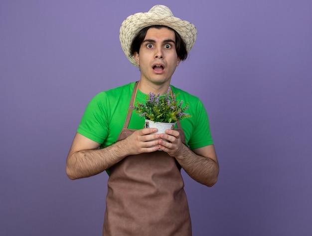 Giovane giardiniere maschio sorpreso in cappello da giardinaggio d'uso uniforme che tiene fiore in vaso di fiori isolato sulla parete viola
