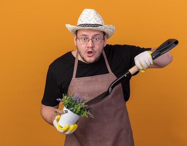 オレンジ色の壁に隔離された植木鉢の花でガーデニング帽子と手袋を保持し、スペードでポイントを身に着けている驚いた若い男性の庭師