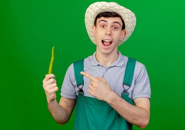ガーデニング帽子をかぶって驚いた若い男性の庭師は、コピースペースで緑の背景に分離された唐辛子を保持し、ポイント