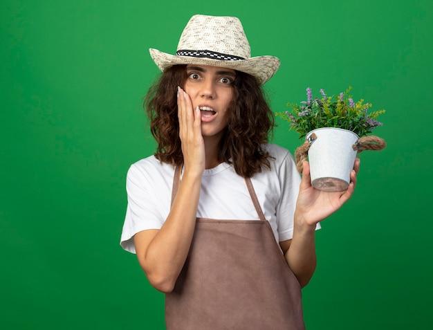 Giardiniere sorpreso della giovane donna in cappello da giardinaggio d'uso uniforme della holding del fiore in vaso di fiori che mette la mano sul fronte isolato sul verde
