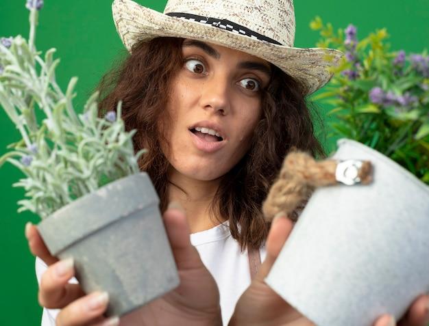 Giardiniere sorpreso della giovane donna in cappello da giardinaggio d'uso uniforme che tiene fuori i fiori in vasi da fiori alla macchina fotografica isolata sul verde