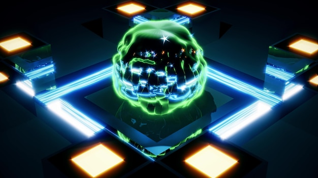 Surreal 3d illustration of 4k uhd abstract spherical figure of uneven shape gleaming with blue and green neon lights on mirrored surface with illumination